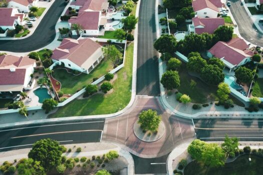 aerial view houses in a suburban area